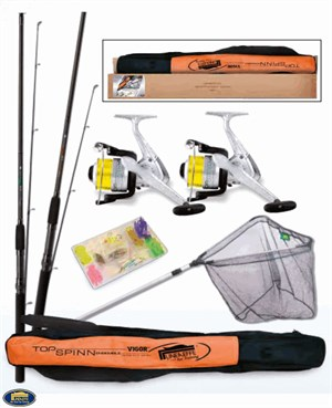 Lineaeffe Top Spınn 2 Rod 2 Reel Rod Cover 1Alu Net Set Of Lures